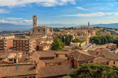 A stunning view of Perugia on a sunny day. Umbria, Italy